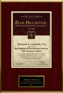 Criminal Lawyer in Broward County - Bar Register of Preeminent Lawyers award