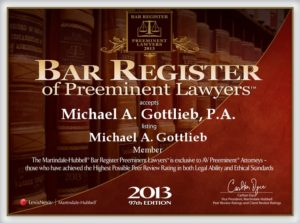 Outstanding Broward Criminal Defense Lawyer - Bar Register award