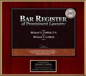 Award winning Broward County Lawyer - 2017 Bar Register award